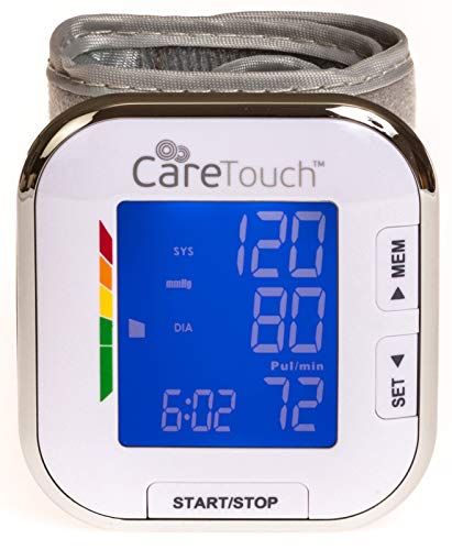 """Care Touch Fully Automatic Wrist Blood Pressure Monitor - Platinum Series - 5.5"""" - 8.5"""" Cuff Size - Batteries and Carrying Case Included"""