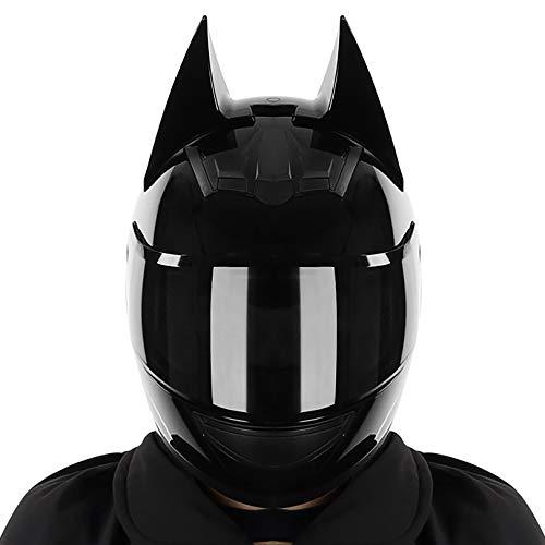 QHF Casco Integral, Cascos de Motocicleta con Orejas de Gato Personalizados para Adultos Equipo de protección para la Cabeza Aprobado por el Dot para Hombres y Mujeres Cool Cat Locomotive Motorcycle