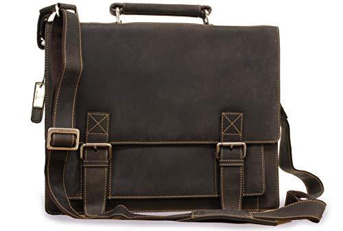 VISCONTI XL Briefcase Sultry Leather HardwearingShoulderCross BodyLaptop CompatibleNotebookiPadBusinessOfficeWork Bag Hercules 16055 Oil Brown