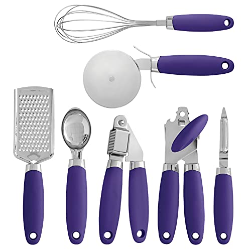 Cook con color lavanda in acciaio INOX e set di utensili da cucina, utensili da cucina, gadget, misurini, cesoie, lavello filtri e accessori 7 pc gadget set with silicone handles Postiano