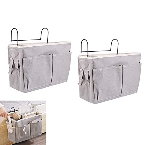 LANCHONG 2 Pack Bed Organizer Hanging with Metal Hooks, Bunk Bed Storage Pocket for Top Bunk Dormitory Bedside Storage for Books Phones Remote Control (Grey)