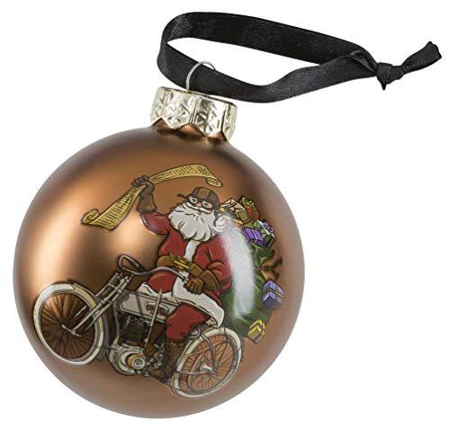 Harley-Davidson Winter 2020 Biker Santa Ball Glass Ornament, Brown HDX-99194