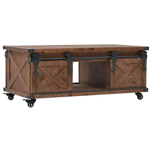 Festnight Table Basse Table d'Appoint Table de Salon Bois de Sapin Massif Style Vintage et Industriel 91 x 51 x 38 cm Marron