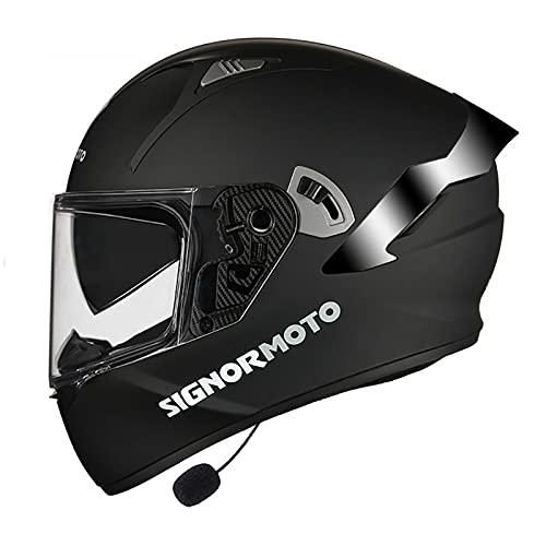 Bluetooth Casco Moto, Casco de Motocicleta con Doble Visera para Motocicleta Scooter, ECE Homologado Casco de Moto Integrado para Adultos Hombre Mujer (Color : J, Size : L(59-60CM))