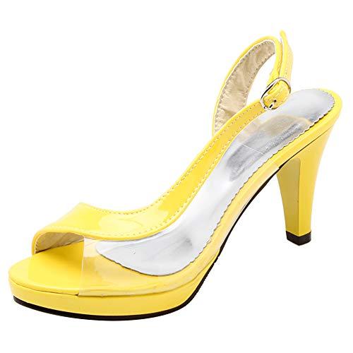 RAZAMAZA Mujer Moda Tacón Embudo Sandalias Slingback Zapatos Peep Toe Transparente Sandalias...