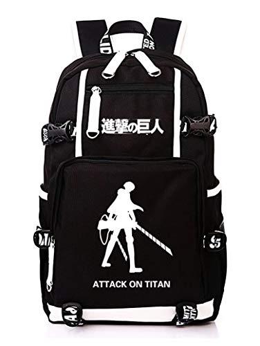 WANHONGYUE L'attacco dei giganti Attack on Titan Anime Laptop Backpack Borsa da Scuola Zaino Studente Zaini Casual Zainetto Nero-11