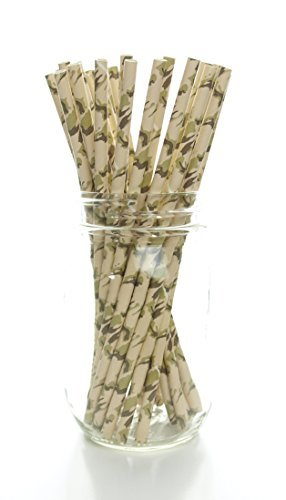 Camouflage Straws (25 Pack) - Hunting Camo Pattern Paper Straws, Camouflage Party Supplies, Deer Hunter Print Drinking Straws