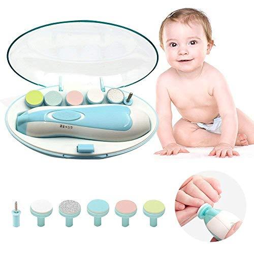 Lima de uñas bebe, GLURIZ Cortaúñas para bebe eléctrico, Pulidor de uñas para bebés, Luz LED,…