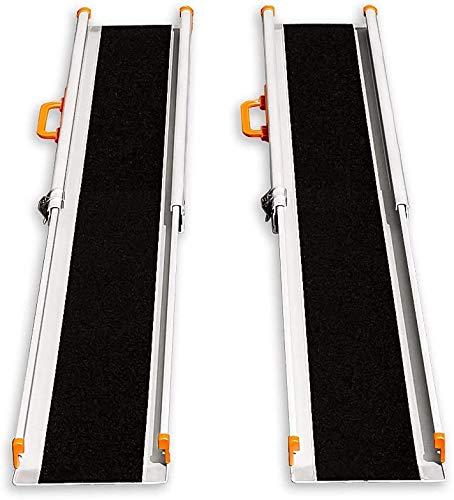 LIEKUMM 2*Rutschfeste Laderampe,Verstellbare Tragbare Aluminium-Teleskoprollstuhlrampe für Treppe und Hindernissen Faltbar Ladeschiene (MR207N-4) (L120cmxW21cmxH5cm)