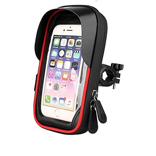 FREEDOL Bolsa Marco Frontal Teléfono Móvil Bicicleta, Visera Impermeable Montar Soporte Teléfono Móvil, Accesorios Bicicleta Adecuados Teléfonos Inteligentesmenos 6,4 Pulgadas,Rojo
