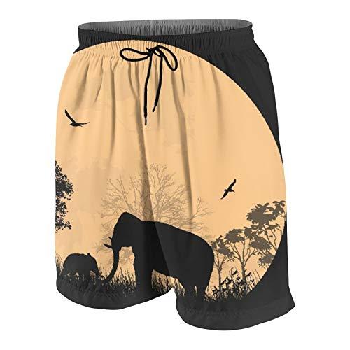 Hombres Personalizado Trajes de Baño,Tema de Safari Africano con Elefantes Frente a la Luna Llena en un Hermoso Lugar,Casual Ropa de Playa Pantalones Cortos