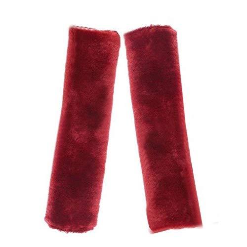HEQUN de cinturon seguridad-Almohadilla de piel suave de imitación para el hombro para cinturón de seguridad ajustador del cinturón de seguridad del coche del amortiguador de apoyo para (Rojo)
