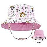 Sombrero para el Sol para niños pequeños Sombrero de Cubo de Verano para bebés de ala Ancha UPF50 Gorra Rosa de Doble Cara con Estampado de Sirena para bebés, niños, niñas, niños de 2-5 años