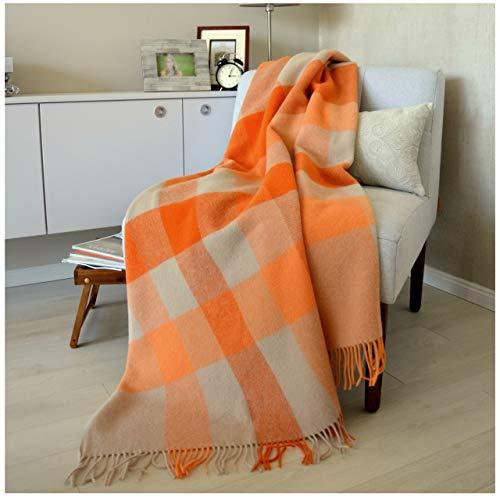Linen & Cotton Warme Decke Wolldecke Kariert Wohndecke Kuscheldecke Devon - 100% Reine Neuseeland Wolle, Orange/Beige/Natur (140 x 200 cm), Sofadecke/Tagesdecke/Überwurf Plaid Blanket/Schurwolle