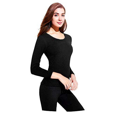 JZCreater Women Thermal Underwear Set Tight, Base Layer Top & Bottom Long John Set (Black,M)