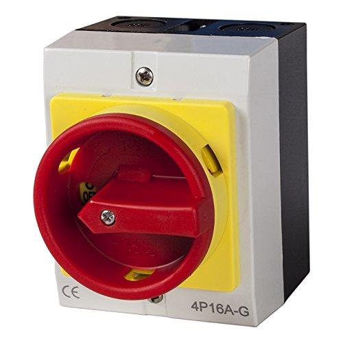 Hauptschalter 16A 4-polig im Gehäuse, Lasttrennschalter, Not-Aus-Schalter