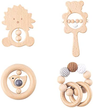 R HORSE 4 Pcs Baby Wooden Teether Rather Toys Beech Wooden Rattles Sensory Set Bead Teething product image