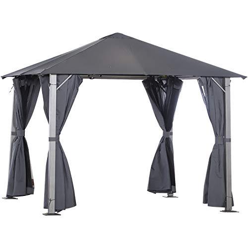 Outsunny 3(m) x 3(m) Garden Outdoor Soft Top Gazebo Steel Frame w/Zipped Mesh Curtain Sidewalls Garden Sun Shelter Wedding Party Tent - Grey
