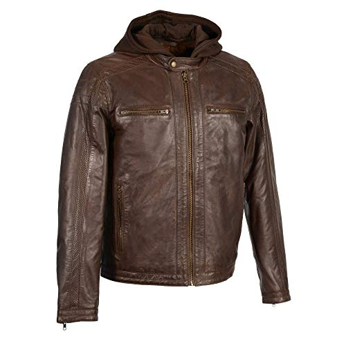 Milwaukee Leather SFM1845 Men's Brown Brown Leather Jacket with Removable Hoodie - Small