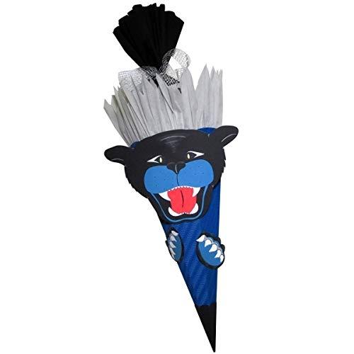 Prell Schultüte Bastelset Panther blau - Zuckertüte - aus 3D Wellpappe, 68cm hoch