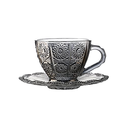 XDYNJYNL Taza nórdica de Vidrio Transparente, Reutilizable, con Textura, diseño Duradero para el hogar y la Cocina, café, Agua, té, Capuchino, Leche, Jugo, Bebidas Calientes (Negro)