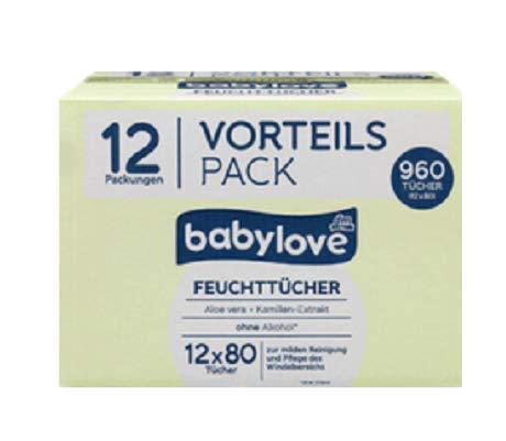 babylove Vorteils Pack Feuchttücher 12 x 80 Stück, 960 Stück Aloe Vera & Kamille