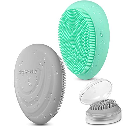 Silicone Face Scrubber Soft Facial Cleanser Brush for Exfoliator, ETEREAUTY Manual Facial Cleansing Brush Non-slip Pad with Travel Portable Box for Blackhead Removing Exfoliating Massage Pore,2 Pack