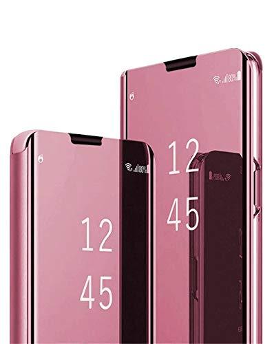 Jacyren Funda compatible con Samsung Galaxy A42, funda de piel con tapa para Galaxy A42, efecto espejo, funda para teléfono móvil 360°, policarbonato translúcido, antigolpes, función atril A42 (rosa)