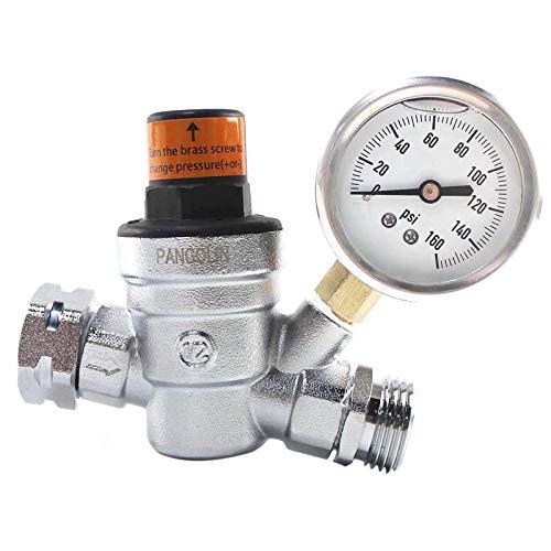 PANGOLIN Water Pressure Regulator Valve with 160 PSI Gauge and Inlet Stainless Screened Filter RV Regulator Valve, 3/4' NH Lead-Free Brass Adjustable Pressure Regulator for RV Camper, 2 Years Warranty