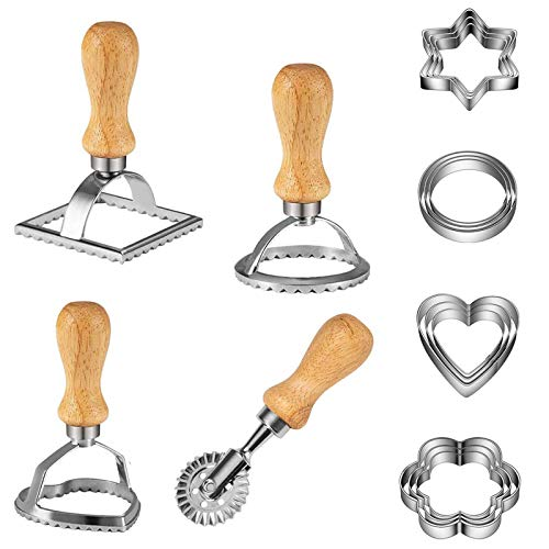 Set di timbri per ravioli, set di formine per biscotti, set di tagliapasta per rovioli, in acciaio inox, con manico in legno e bordo scanalato, a forma di cerchio a forma di stella a forma di cuore