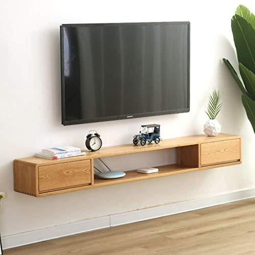 ZXYY massief houten wandplank aan de muur gemonteerde tv-kast met lade drijvende plank set top box WiFi Router opslag planken TV achtergrond muur decoratie plank (kleur: walnoot kleur) Wood Color