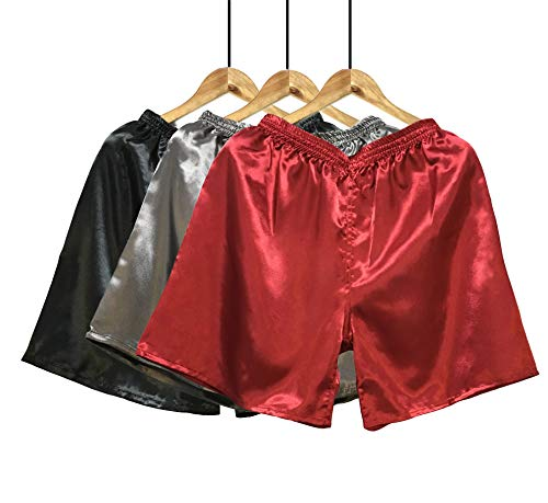 Wantschun Herren Satin Silk Unterwäsche Nachtwäsche Boxershorts Unterhosen Pyjama Bottom Shorts Pants Hose, L, 3-pack:rot+grau+schwarz