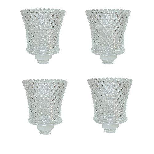 Dekowelten 4er Set Glasaufsatz Dicke Version für Kerzenleuchter Kerzenständer Teelichtaufsatz Teelichthalter aus Glas Perle Punkt Struktur