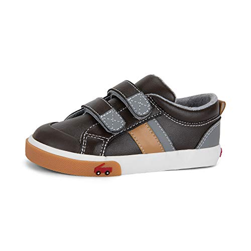 See Kai Run - Boy's Russell Casual Sneaker for Toddlers and Kids, Brown Leather, 10.5