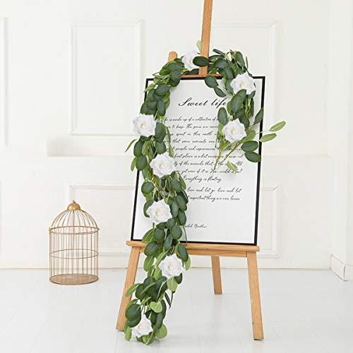 Patimate Eucalyptus Garland (6.5 FT, 8 White Roses Among Eucalyptus Leaves), Flower Garland for Wedding Arch Backdrop Decor, Table Runner, Banquet, Home Decor, Hanging Vine Rose Decoration