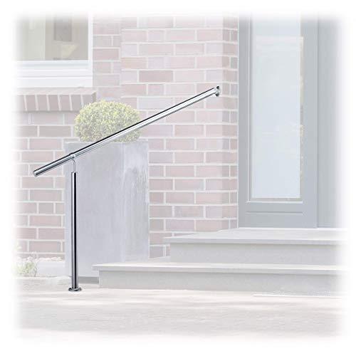 Relaxdays, Silber Treppengeländer Edelstahl, für Drinnen und Draußen, 150 x 80 cm, mit Wandhaltern+Metalldübeln, 1500 mm