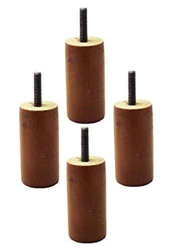 3' Tall Walnut Replacement Wooden Sofa Legs (Set of 4), for Couch and Furniture