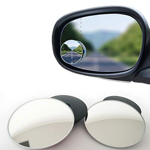 Blind Spot mirror, 2 in Round Wide Angle Blind Spot Mirror, HD Glass Convex Rear View Mirror, Ultra-thin Frameless Fixed or Angle Adjustable Dual-purpose Blind Spot Mirror for Cars Trucks SUV, 2PCS