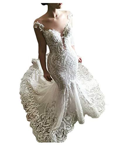 Women's Illusion Lace Applique Train Bridal Ball Gown Mermaid Wedding Dresses for Bride Plus Size