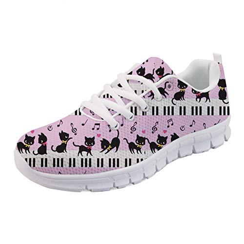 Coloranimal Pink Road Running Schuhe Cartoon Musik Klavier mit Cat Design Athletic Jogger Sneakers Frühling Herbst Air Mesh Leichte Sneaker Flats EU Größe 40