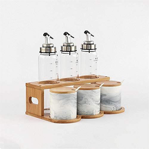 Keramische kruiden Box Set Huishoudelijke kruiden Pot kruiden Rack Olie Fles Pot Zout Shaker Glas Keuken Saus Azijn Fles Water Cloud Ash