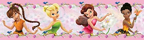 1art1 Disney Fairies - Fawn, Tinker-Bell, Rosetta, Iridessa Bordüre Tapeten-Borte Selbstklebend 500 x 10 cm