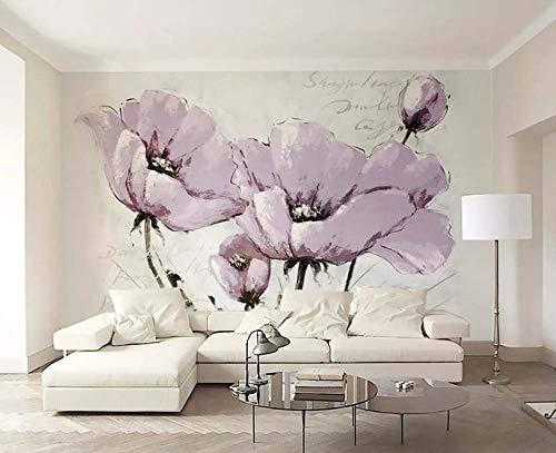 Speedcoming mooie paarse bloemen behang Scandinavische IKEA minimalistische tv achtergrond muur grote bloemen ontwerp muurschildering papier 150x105cm/59