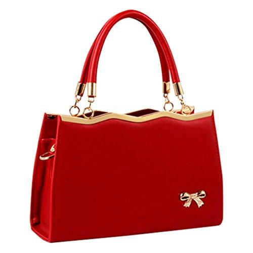 MissFox Borsa A Spalla Donna Borse A Mano Borsa Messenger Donna Cravatta A Farfalla Vino Rosso