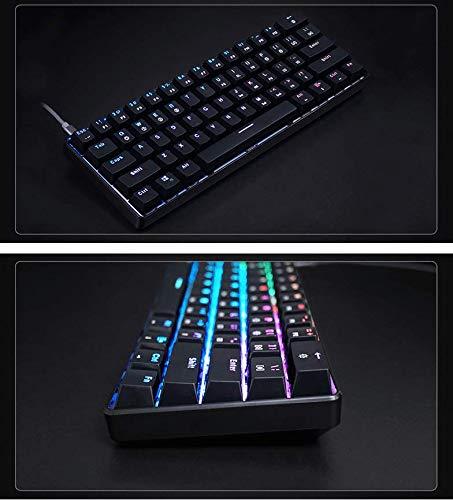 GK61 Mechanical Gaming Keyboard - 61 Keys Multi Color RGB Illuminated LED Backlit Wired Programmable for PC/Mac Gamer (Gateron Optical Black, Black)