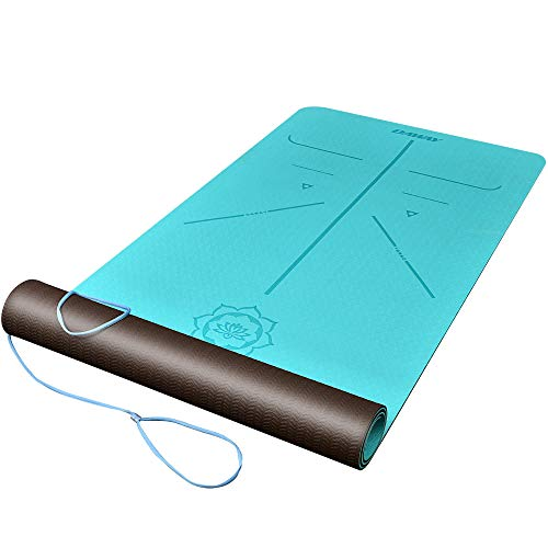 """DAWAY Eco Friendly TPE Yoga Mat Y8 Wide Thick Workout Exercise Mat, Non Slip Grip Pilates Mats, Body Alignment System,Tear Resistant, with Carrying Strap, 72""""x 26"""" Thickness 6mm, 1 Year Warranty by DAWAY"""