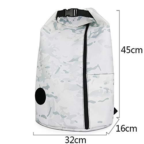 Emmer tas licht schoudertas mannen en vrouwen outdoor sporttas vakantiereizen basketbal unisex zachte in te ademen waterdichte rugzak (Color : White)