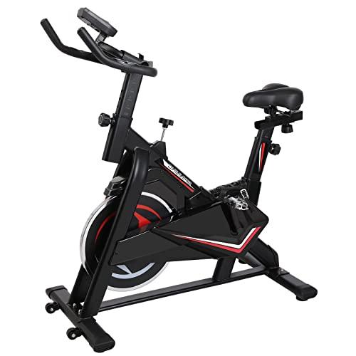 Bicicleta Estática Ergómetro, Bicicleta de Spinning, hasta 180 Kg, Volante de Inercia 13 Kg, Bicicleta Interior, 5 Ajustes de Altura de Reposabrazos y Cojines de Asiento, Pantalla Lcd