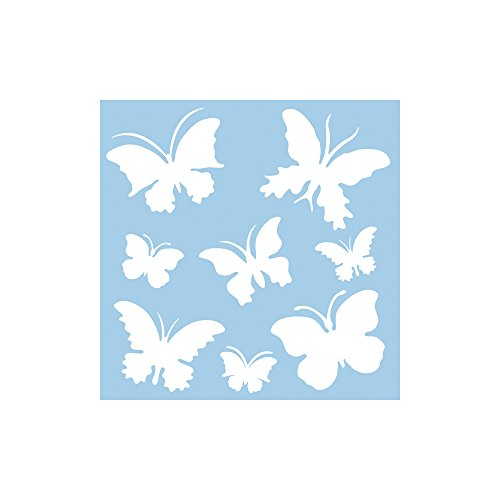 """RAYHER 3847500 Schablone """"Schmetterlinge"""" 30x30cm, 8 Motive ca. 5,5-12cm, Malschablone, Wandschablone, Kunststoff, biegsam, formstabil, transparent"""