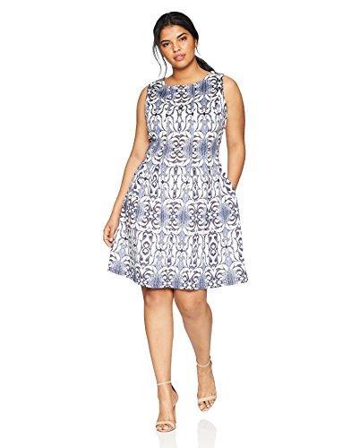 Gabby Skye Women's Plus Size Aztec Printed a-Line Dress, Ivory/Navy